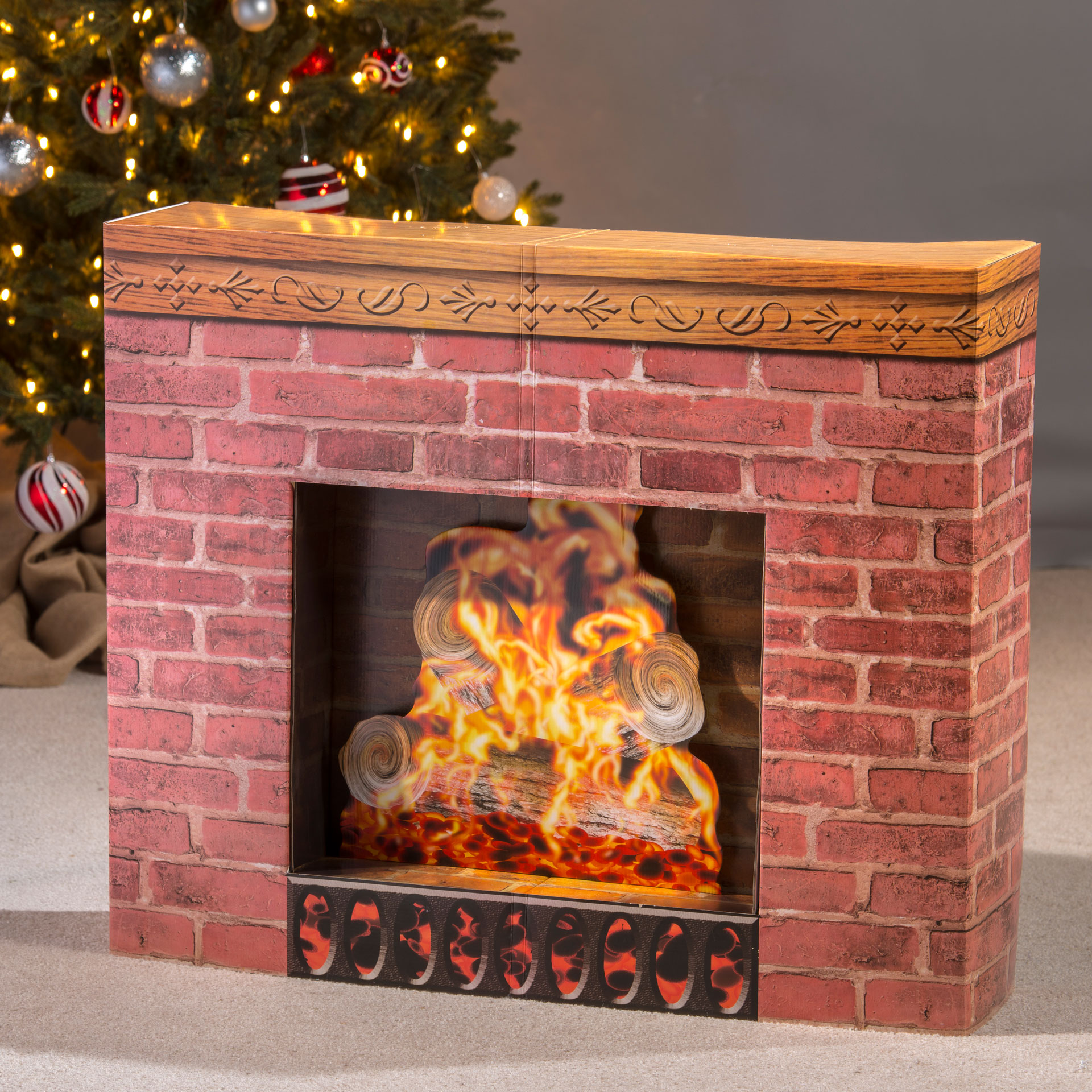 Christmas Fire Place Images.Fireplace Prop Cardboard Stand Up Walmart Com