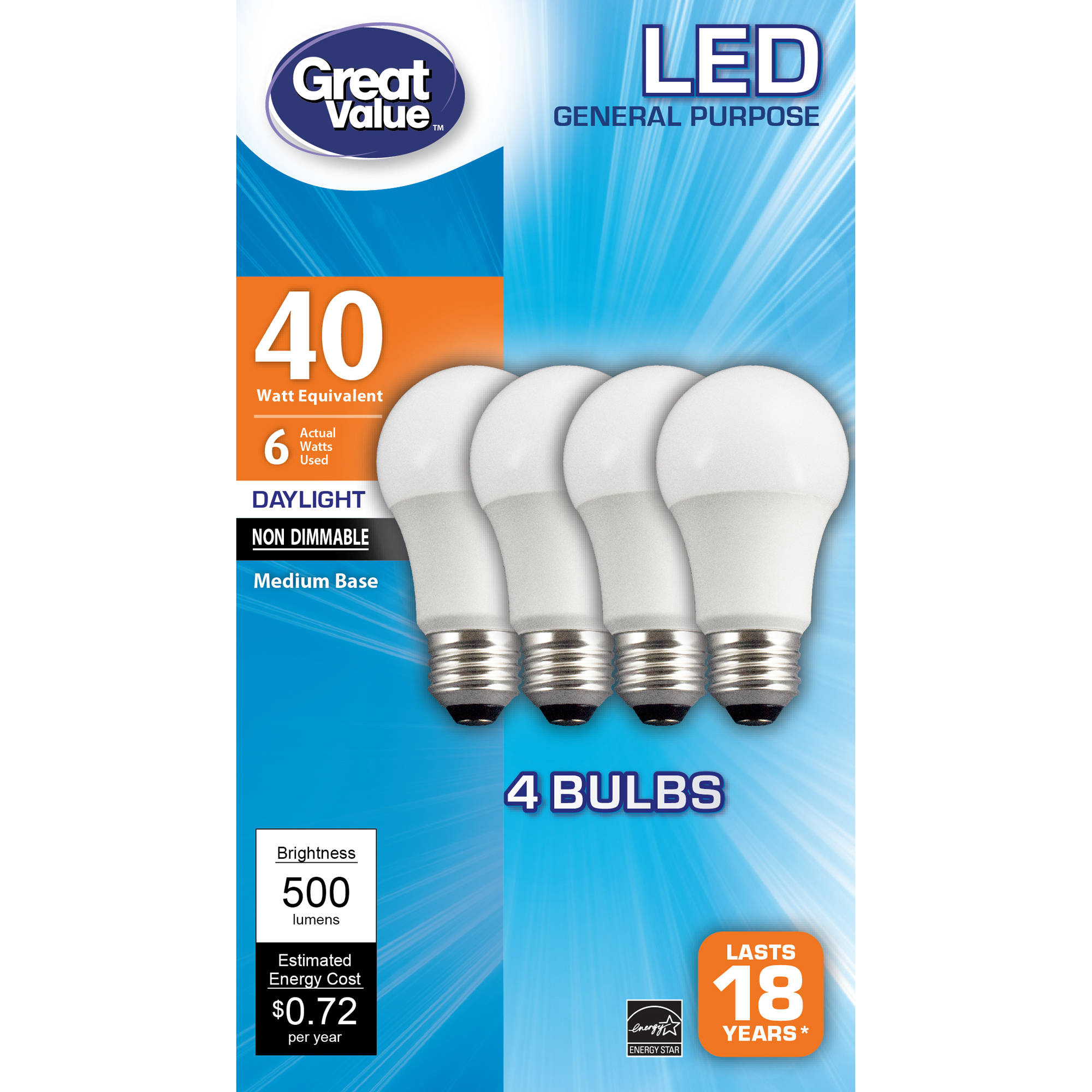 Great Value LED A19 (E26) Light Bulbs 6W (40W Equivalent), Daylight, 4-Pack