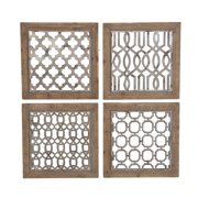 """Decmode - Square Wood and Metal Wall Decor Plaques, Set of 4: 19"""" x 19"""" Each"""