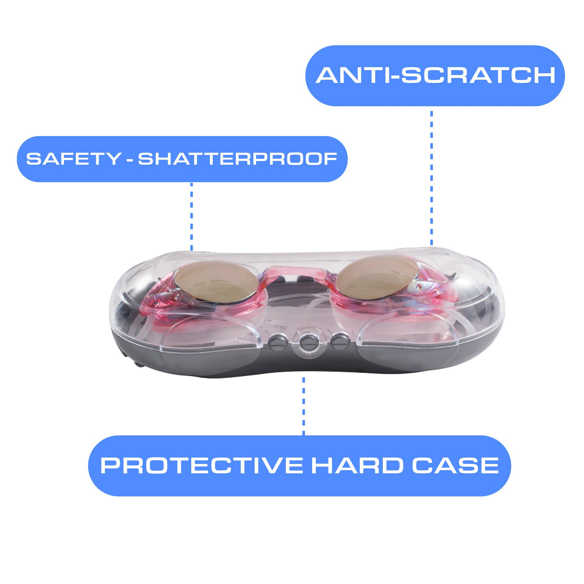 933de2fa02b Swimming Goggles by Zodaca 2-Pack Mirrored Lens Pink Swim Goggles Glasses  Anti-Fog UV Protection No Leaking w Storage Case for Adult Men Women Youth  ...