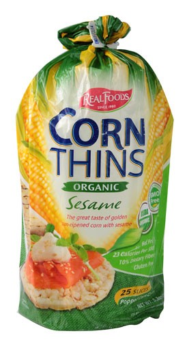 Real Foods Organic Corn Thins, Sesame Flavor, Gluten Free Wheat Free, 5.3 Ounce Bag