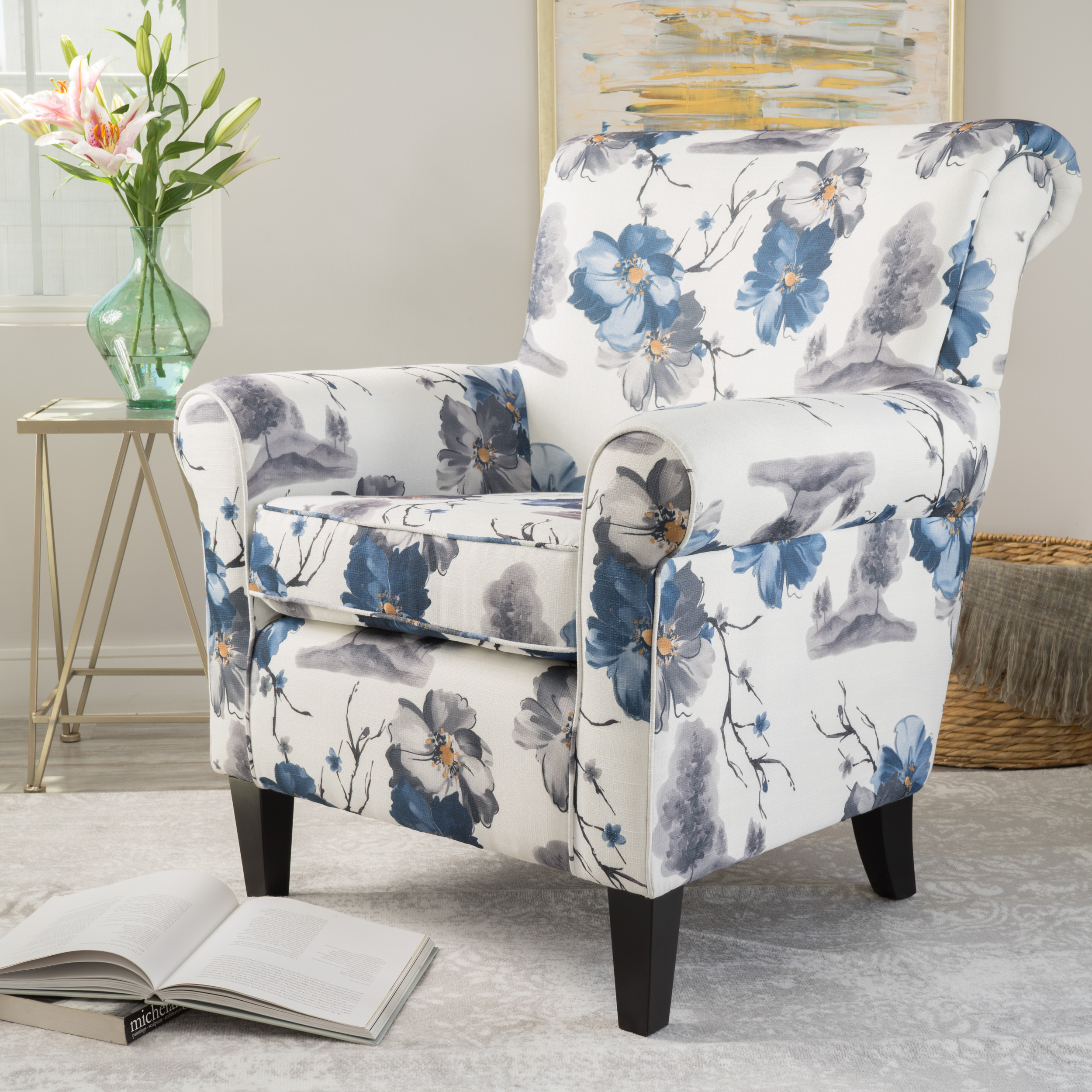 . Details about Blue   White Floral Pattern Modern Fabric Club Chair Lounge  Living Room Bedroom