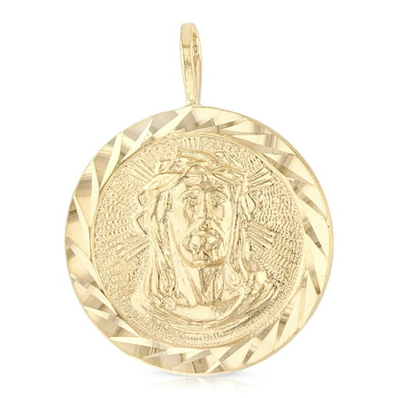 14K Yellow Gold Religious Jesus Christ Stamp Charm Pendant For Necklace or Chain