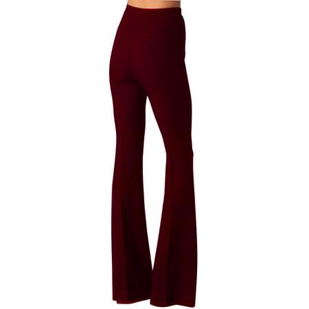Fashion style button high waist woman Ultra-wide-leg trousers black thin bell-bottom trousers - Womens Bell Bottoms