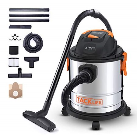 tacklife wet dry vacuum, 5 gallon, 5.5 peak hp, 1000w stainless steel wet/dry vac, over 320 square feet clean range, 4-layer filtration system, drywetblow three functions for cleaning