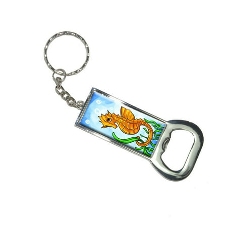 Seahorse Sea Horse Yellow - Ocean Water Cute Bottle Opener Keychain