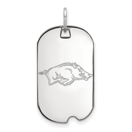 14k White Gold University of Arkansas Small Dog Tag - White Gold Dog Tags