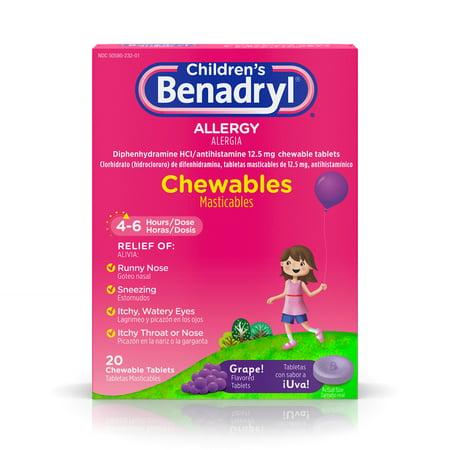 Children's Benadryl Allergy Chewable Tablets, Grape, 20