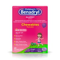 Children's Benadryl Allergy Chewable Tablets, Grape, 20 Ct