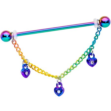 Body Candy Women 14G Rainbow Steel Helix Cartilage Earring Heart Lock Chain Dangle Industrial Barbell 1 1/2