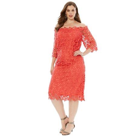 Plus Size Off -the-shoulder Lace Dress