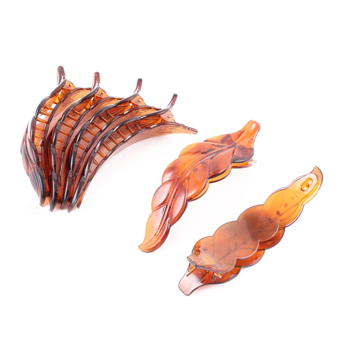 Unique BargainsWomen Plastic Leaf Shape Hairpin Beak Duckbill Clip Barrette Coffee Color 6 Pcs