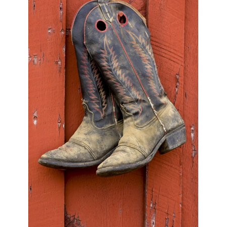 Worn Cowboy Boots Hanging, Ponderosa Ranch, Seneca, Oregon, USA Print Wall Art By Wendy Kaveney