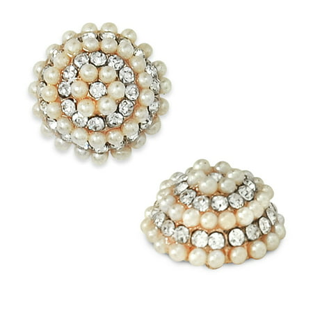 Faux Pearl Button - Expo Int'l 15mm Glass Rhinestone Buttons with Faux Pearls - Gold