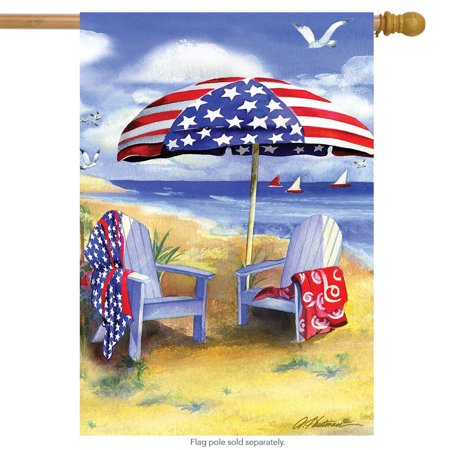 Patriotic Beach Summer House Flag Nautical 4th of July Adirondack Chairs 28