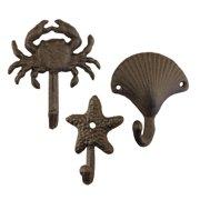 Set of 3 Cast Iron Ocean Icon Hooks