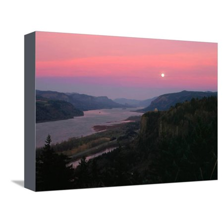 Millenium Moon over Crown Point, Portland Women's Forum State Park, Columbia River Gorge Nationa... Stretched Canvas Print Wall