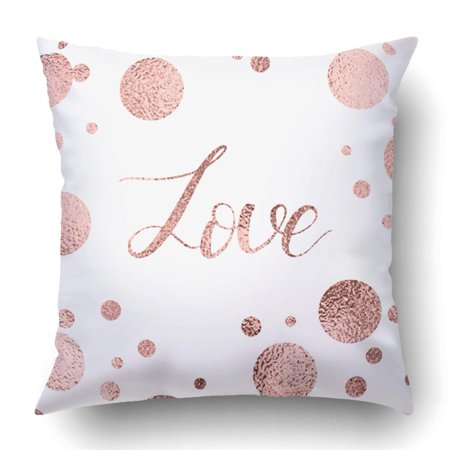 ARTJIA Rose gold lettering Hand drawn letters Handwritten text Love for Valentines Day Pillowcase Throw Pillow Cover Case 18x18 inches](Diy Pillows)
