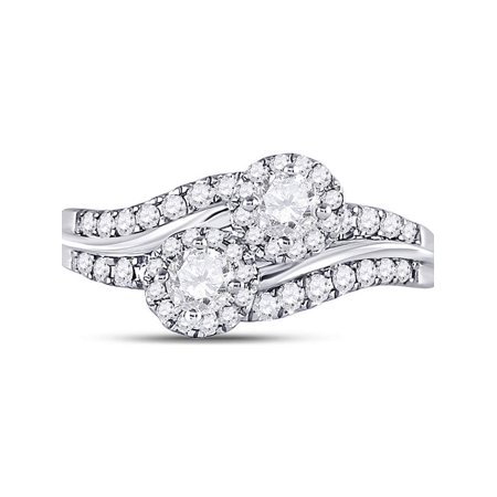 14kt White Gold Womens Round Diamond 2-Stone Hearts Together Engagement Bridal Ring 5/8 Cttw - image 1 de 4