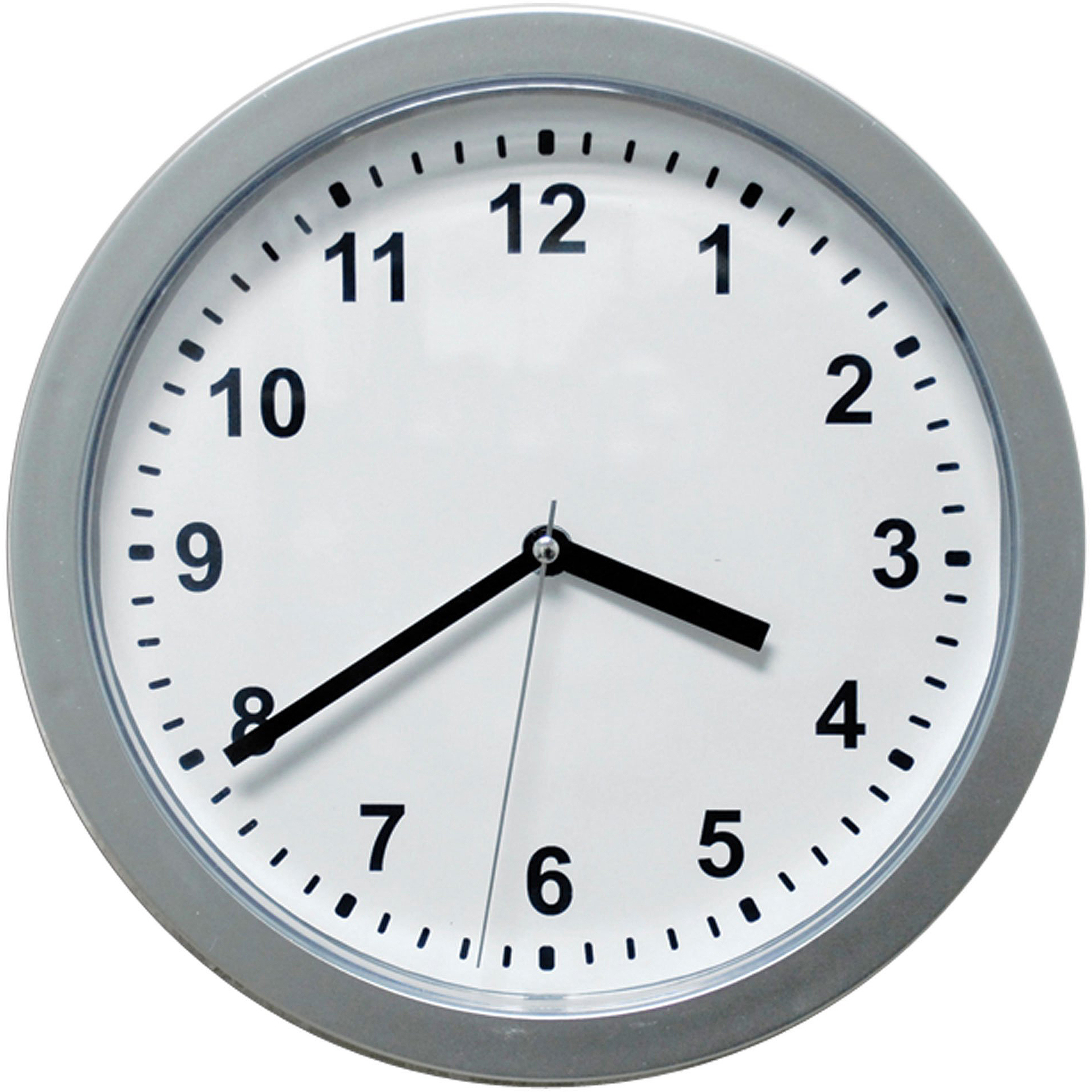 "10"" Silver Wall Clock with Hidden Safe"