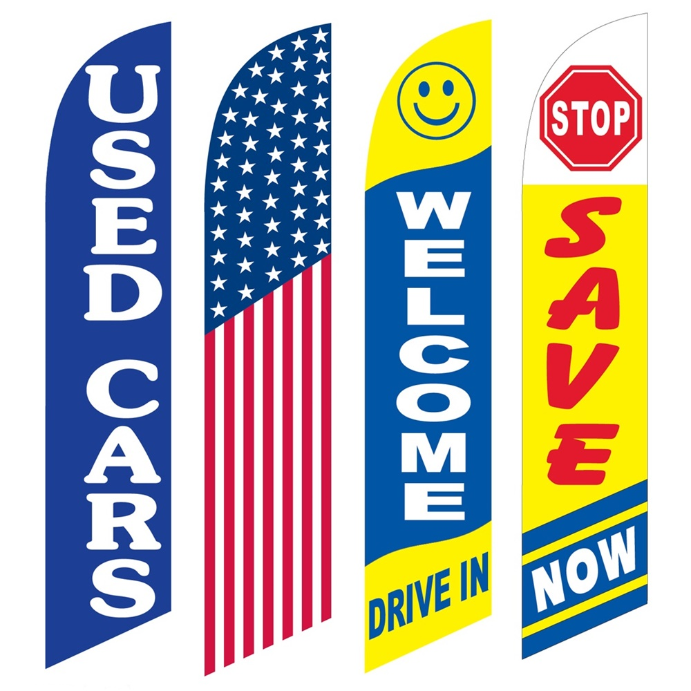 4 Advertising Swooper Flags Used Cars America Welcome Drive In Stop Save Now
