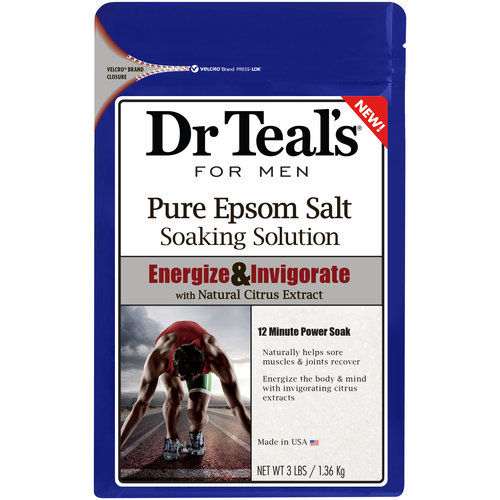 Dr Teal's for Men Energize & Invigorate Pure Epsom Salt Soaking Solution, 3 lbs