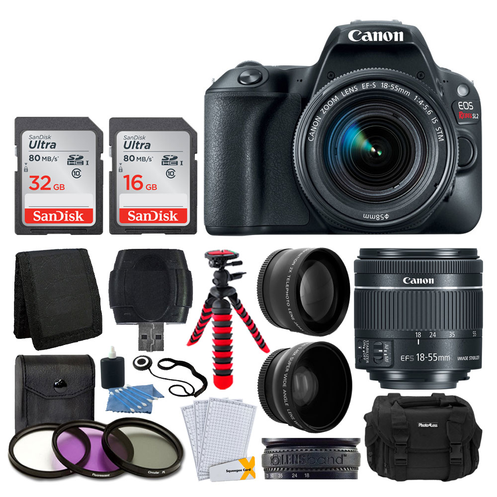 Canon EOS Rebel SL2 Digital SLR Camera + EF-S 18-55mm f/4-5.6 IS STM Lens + Wide Angle & Telephoto Lens + 48GB Memory Card + Vivitar DC59 Large Gadget Bag + Flexible Tripod – Valued Accessory Bundle