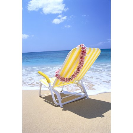 Posterazzi Back View Of Yellow Beach Chair In Sand Gentle Shore Waters Pink Lei C1724 Canvas Art - Bill Brennan  Design Pics (24 x - Yellow Sand Beach