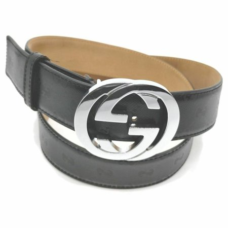 Gucci Black Guccissima Leather Interlocking GG Logo Buckle 860407