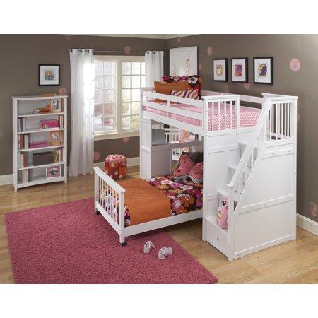 School Twin Stair Loft Desk End Full Lower Bed White