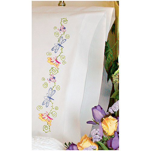 Dimensions Needlecrafts Embroidery, Whimsical Butterflies Pillow Cases Multi-Colored