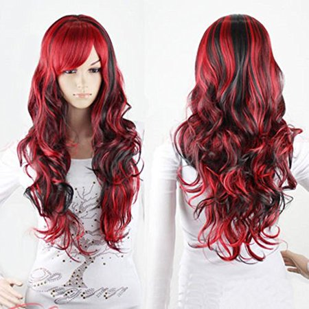 Wig for Women Synthetic Hair Heat Resistant Lolita Style Curly Red & Black 27.5