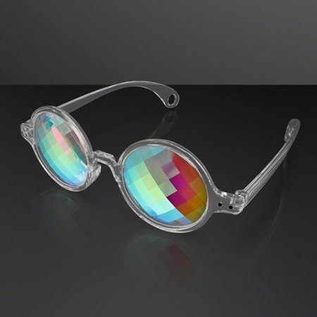 Clear Frame Far Out Kaleidoscope Pixelated Lense Glasses by - Pixelated Glasses