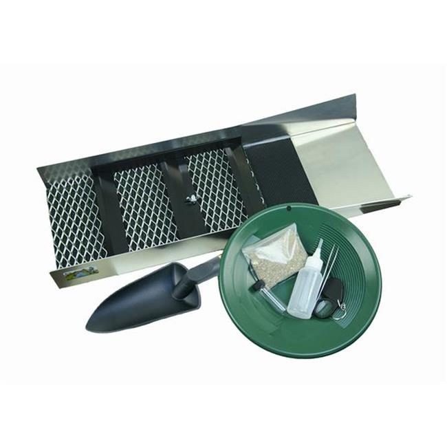 Make Your Own Gold Bars CSBK-Green No. 3 24 x 10 in. Gold Rush Miners Special Sluice Box Paydirt Gold Pan Mining Kit - 8 Piece