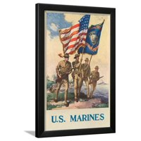 US Marines - Soldiers on Shore with US and Marine Flags Framed Print Wall Art