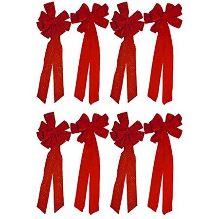 Christmas Holiday Giant Red Velvet Bow, Glitter & Non-Glitter- 2, 4 & 8 Packs Available (4, Glitter & 4 Non-Glitter)