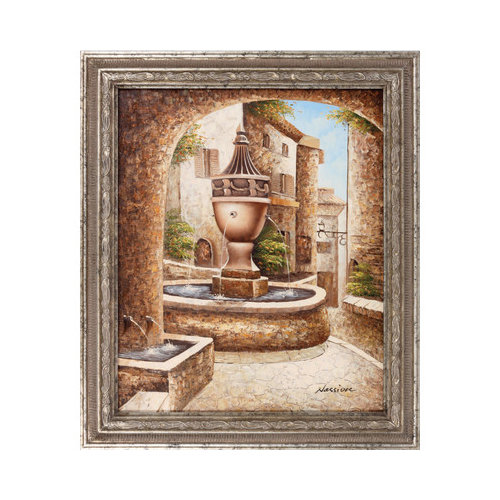 Hokku Designs Neighborhood Fountain Framed Original Painting