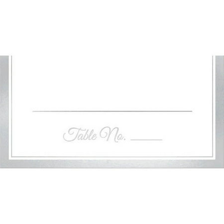 Place Cards 50 Ct Placecard White Silver Trim 4x4 Wedding Anniversary](Wedding Placecards)