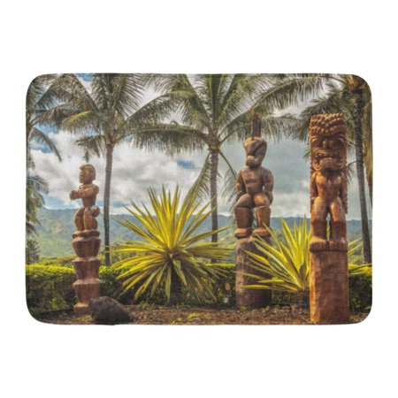 GODPOK Green Statue Blue Landscape Three Wooden Polynesian Tiki Carvings on Oahu Hawaii Brown Hawaiian Palm Rug Doormat Bath Mat 23.6x15.7 inch (Hobby Stores Oahu)