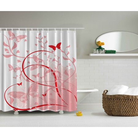 Floral Butterflies Hearts Abstract Paintings Flowers Extra Long Shower Curtain