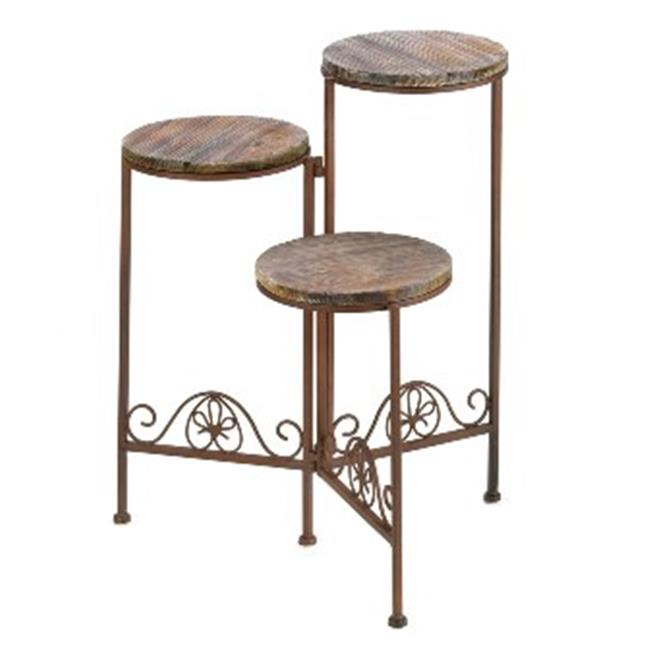 Zingz & Thingz 57070253 Old World Rustic Triple Plant Stand