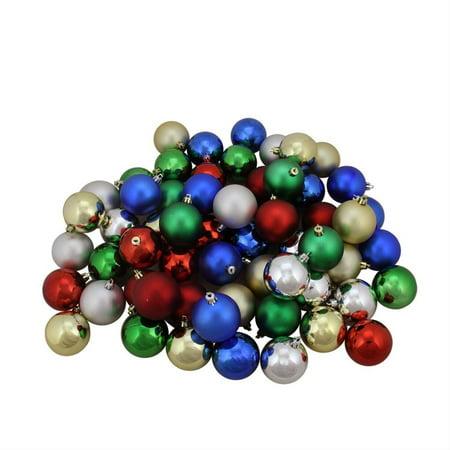 60ct Traditional Multi-Color Shiny & Matte Shatterproof Christmas Ball Ornaments 2.5