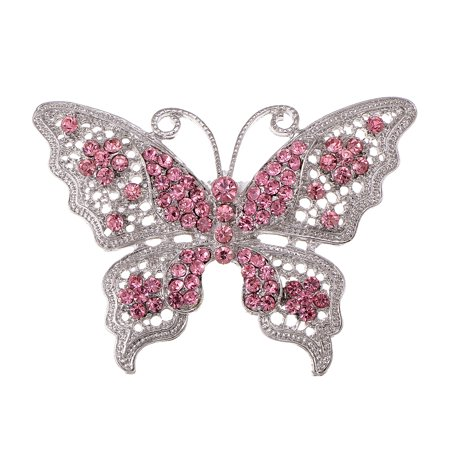 Silver Tone Filigree Vintage Clear Crystal Rhinestone Layer Butterfly Pin Brooch