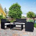 Costway 4 Pc Rattan Patio Furniture Set Garden Lawn Sofa Seat