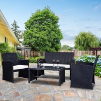 Deals on Costway 4 Pc Rattan Patio Furniture Set Garden Lawn Sofa