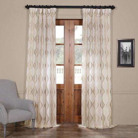 Half Price Drapes Suez Embroidered Geometric Sheer Rod Pocket Single Curtain Panel