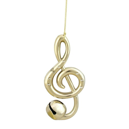 "Ganz 4.75"" Treble Clef Musical Note Jingle Bell Christmas Ornament - Gold"