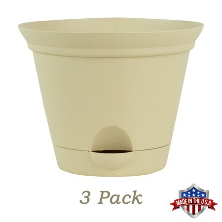 3 Pack 11.5 Inch Latte Quartz Plastic Self Watering Flare Flower Pot or Garden Planter