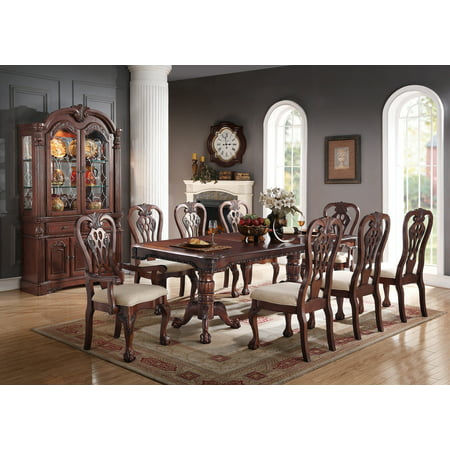 Formal Traditional Dining Room 9pc Set Cherry Wood Finish Rectangle Table Accent Fl Pattern