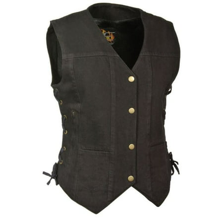 Milwaukee Leather Womens 6 Pocket Side Lace Denim Vest w/ Gun Pockets Black (Authentic Black Leather Vest)
